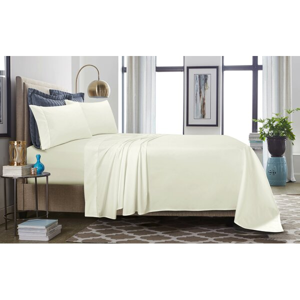 500 Thread Count 100% Cotton Percale Extra Deep Pocket Sheet Set by Tribeca Living